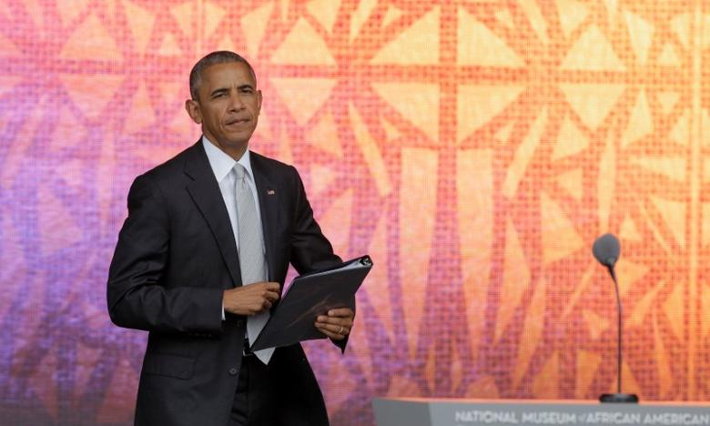 U.S. President Barack Obama prepares to speak at the dedication of the Smithsonian's National Museum of African American History and Culture in Washington, U.S., September 24, 2016.      REUTERS/Joshua Roberts