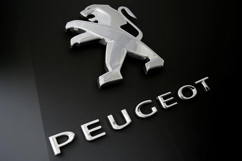A logo of Peugeot car maker is seen at the Roland Garros stadium in Paris, France, May 28, 2016. REUTERS/Jacky Naegelen