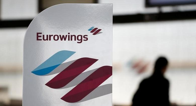 The logo of Lufthansa's low-cost brand Eurowings is seen at Cologne-Bonn airport, Germany, November 2, 2015.  REUTERS/Wolfgang Rattay/File Photo