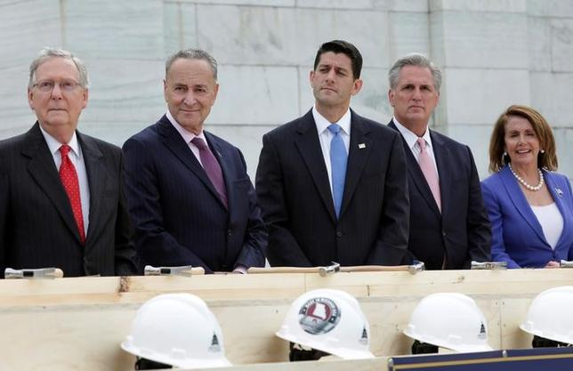Senate Majority Leader Mitch McConnell (R-KY), Senator Chuck Schumer (D-NY), House Speaker Paul Ryan (R-WI), House Majority Leader Kevin McCarthy (R-CA) and House Minority Leader Nancy Pelosi (D-CA) participate in the ''first nail ceremony'' kicking off the Inauguration Platform construction on the West Front of the U.S. Capitol in Washington, U.S., September 21, 2016. REUTERS/Yuri Gripas