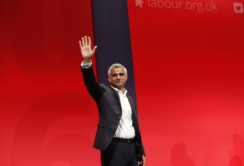 Mayor of London Sadiq Khan waves after his speech during the third day of the Labour Party conference in Liverpool, Britain, September 27, 2016. REUTERS/Darren Staples