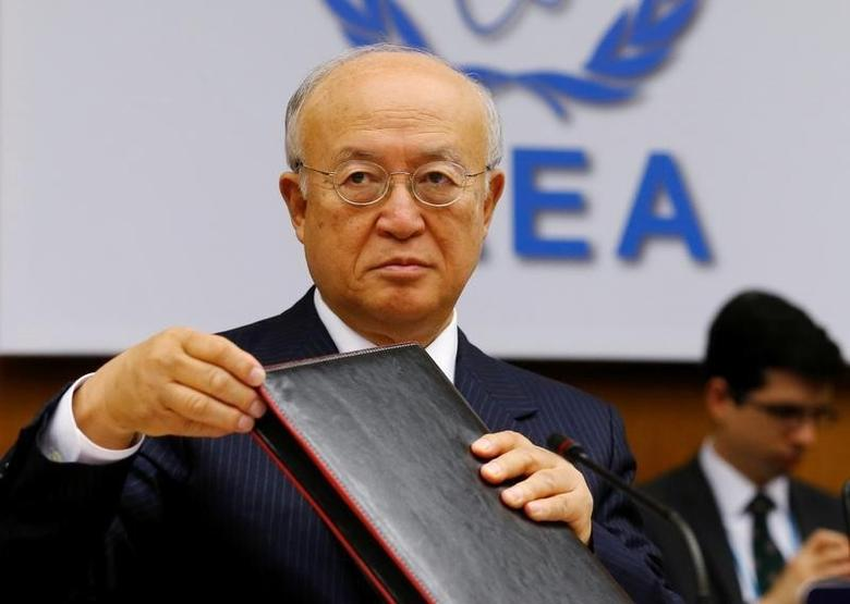 International Atomic Energy Agency (IAEA) Director General Yukiya Amano prepares for a board of governors meeting at the IAEA headquarters in Vienna, Austria June 6, 2016. REUTERS/Heinz-Peter Bader/Files