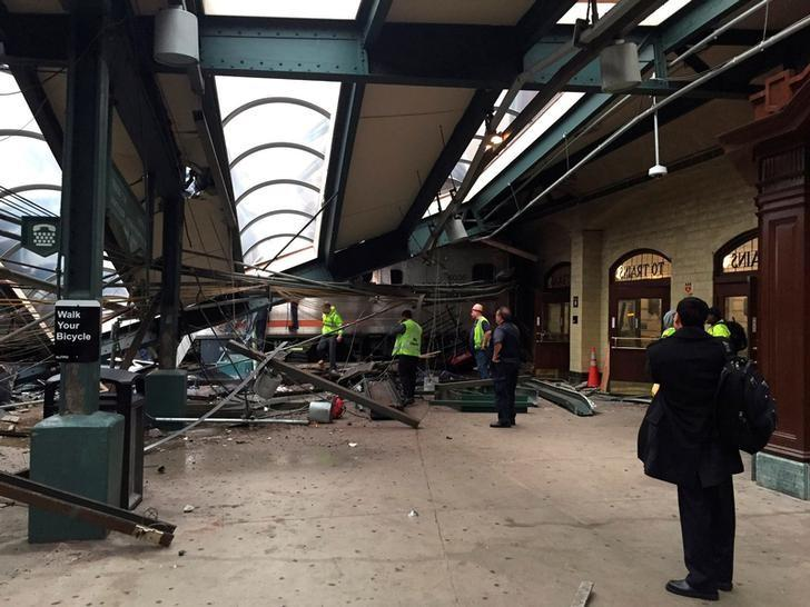A New Jersey Transit train that derailed and crashed through the station is seen in Hoboken, New Jersey, U.S. in this picture courtesy of Corey Futterman taken on September 29, 2016.   Courtesy of Corey Futterman via REUTERS