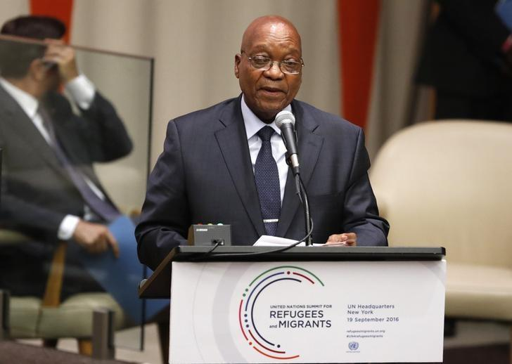 President Jacob Zuma of South Africa speaks during a high-level meeting on addressing large movements of refugees and migrants at the United Nations General Assembly in Manhattan, New York, U.S., September 19, 2016. REUTERS/Lucas Jackson