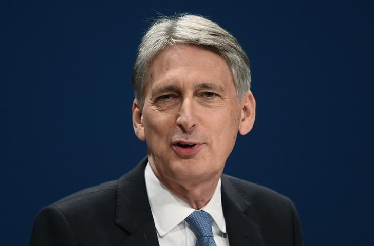 Britain's Chancellor of the Exchequer Philip Hammond speaks at the Conservative Party conference in Birmingham, Britain October 3, 2016. REUTERS/Toby Melville