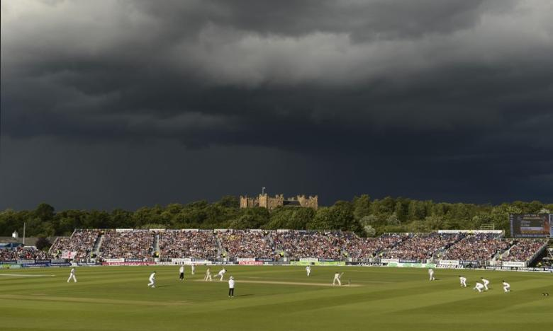 A general view shows the fourth Ashes cricket test match between England and Australia, with Lumley castle in the background, at the Riverside cricket ground in Chester-le-Street near Durham August 12, 2013. REUTERS/Philip Brown