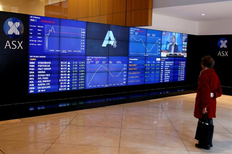 An investor stands in front of a board displaying stock prices at the Australian Securities Exchange (ASX) in Sydney, Australia, June 27, 2016. REUTERS/David Gray
