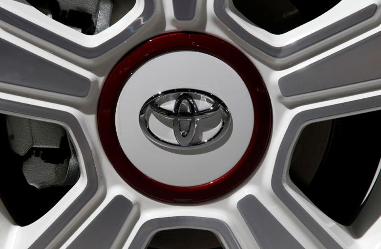View of a Toyota logo on a wheel at the Mondial de l'Automobile, Paris auto show, during media day in Paris, France, September 30, 2016. REUTERS/Jacky Naegelen