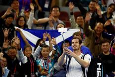 Tennis - China Open Men's Singles First Round - Beijing, China - 04/10/16. Andy Murray of Great Britain takes pictures with fans after defeating Andreas Seppi of Italy. REUTERS/Thomas Peter