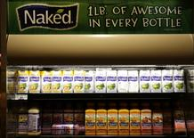 Various flavors of Naked brand juices are seen at the Safeway store in Wheaton, Maryland February 13, 2015.    REUTERS/Gary Cameron