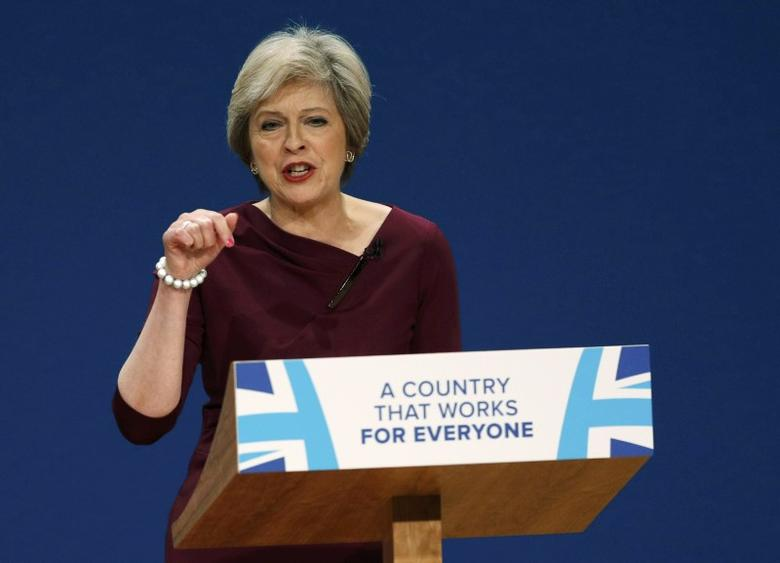 Britain's Prime Minister Theresa May gives her speech on the final day of the annual Conservative Party Conference in Birmingham, Britain, October 5, 2016.     REUTERS/Darren Staples