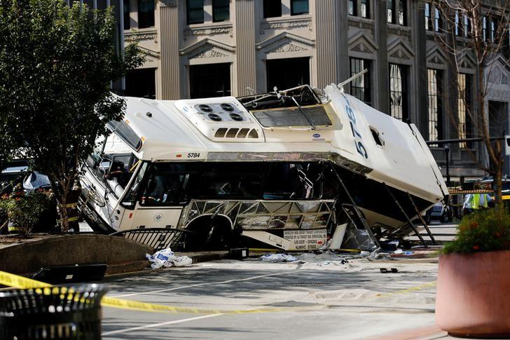 One of the two buses involved in an accident is seen in Newark, New Jersey, August 19, 2016. REUTERS/Eduardo Munoz