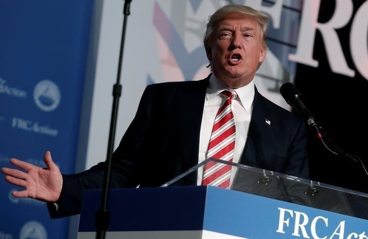 Republican presidential nominee Donald Trump speaks at the Values Voter Summit in Washington, D.C., U.S., September 9, 2016.  REUTERS/Mike Segar