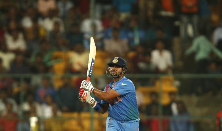 Cricket - India v Bangladesh - World Twenty20 cricket tournament - Bengaluru, India, 23/03/2016. India's Suresh Raina plays a shot.   REUTERS/Danish Siddiqui