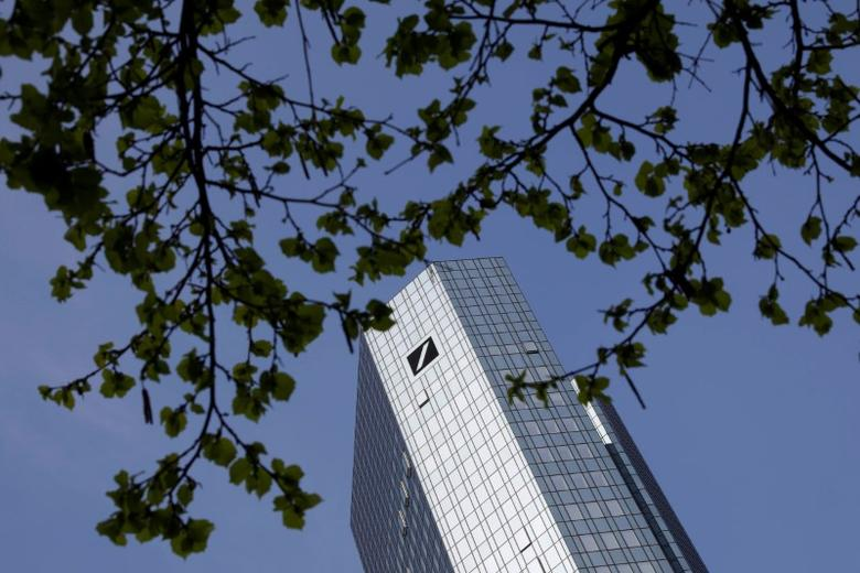 The headquarters of Germany's largest business bank Deutsche Bank AG is pictured on a sunny day in Frankfurt, Germany, April 14, 2016. REUTERS/Kai Pfaffenbach