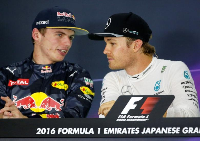 Formula One - Japanese Grand Prix - Suzuka Circuit, Japan- 9/10/16. Mercedes' driver Nico Rosberg of Germany and Red Bull's Max Verstappen of the Netherlands attend a news conference after the race. REUTERS/Toru Hanai