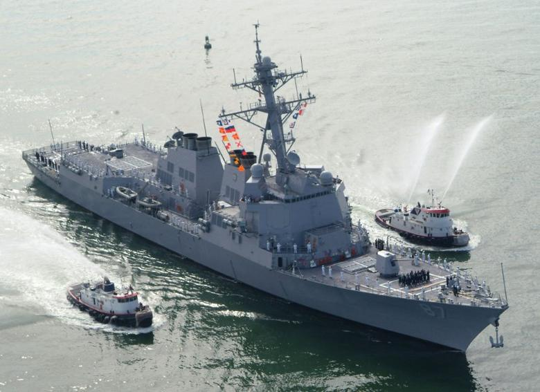 The USS Mason (DDG 87), a guided missile destroyer, arrives at Port Canaveral, Florida, April 4, 2003. REUTERS/Karl Ronstrom/File photo