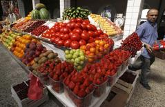Vegetables and fruits are on display at a market in central St. Petersburg June 9, 2011. REUTERS/Alexander Demianchuk