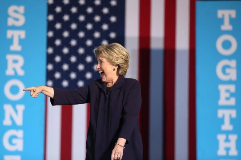 U.S. Democratic presidential nominee Hillary Clinton speaks at a rally at Ohio State University in Columbus, Ohio, U.S. October 10, 2016. REUTERS/Lucy Nicholson