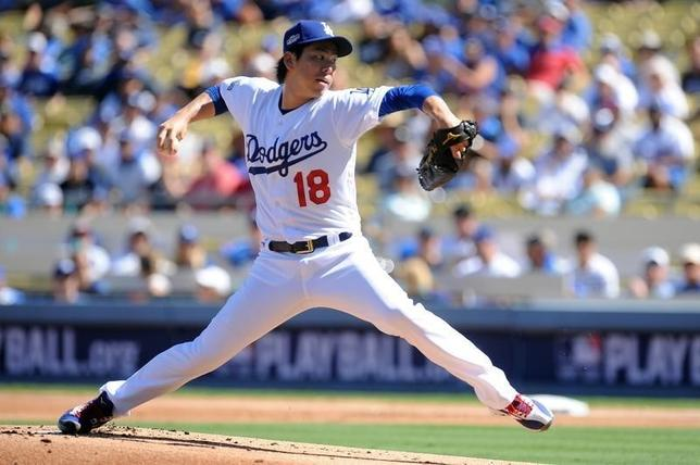 10月10日、MLBドジャースの前田健太投手は、地元で行われたナショナルズとの地区シリーズ第3戦に先発登板。3回4失点の内容で負け投手となった(2016年 ロイター/Gary A. Vasquez-USA TODAY Sports)
