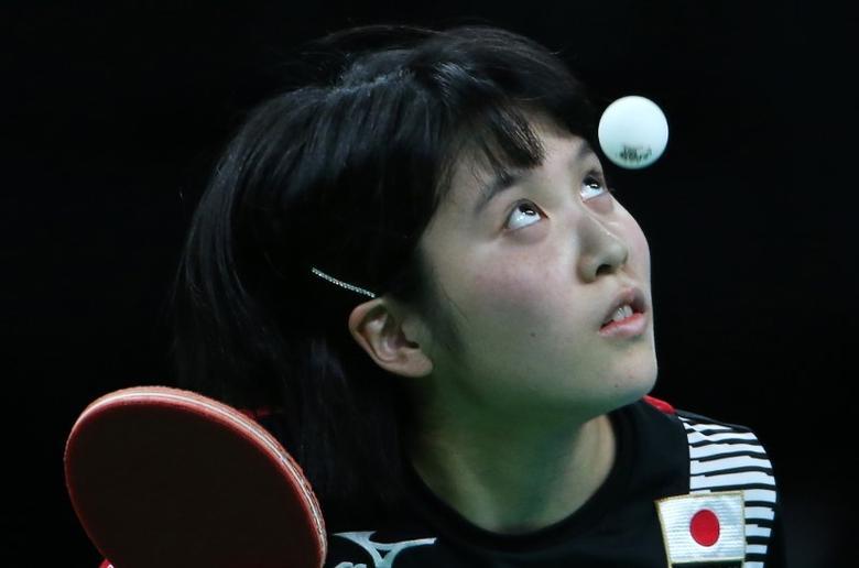 2016 Rio Olympics - Table tennis - Japan's Olympic Team Training -  Riocentro - Rio De Janeiro, Brazil - 31/07/2016. Japan's Miu Hirano practices. REUTERS/Edgard Garrido