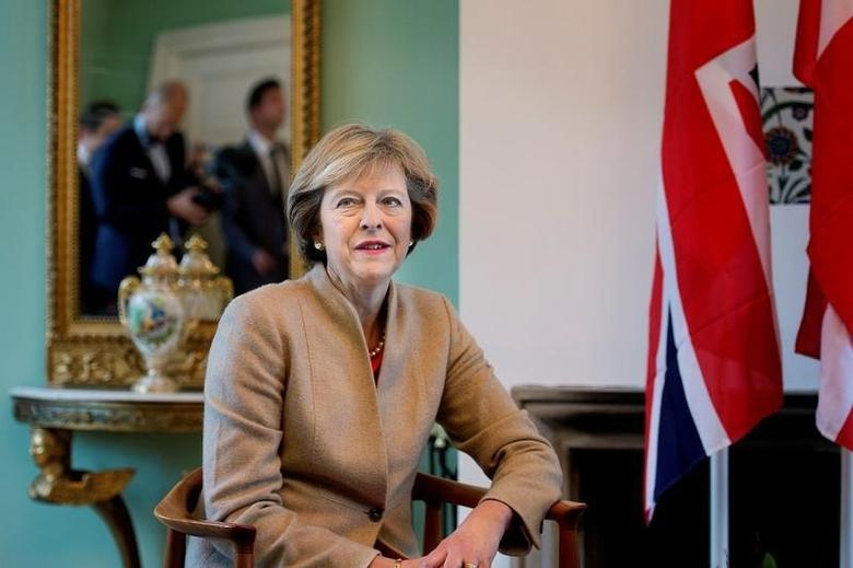 Britain's Prime Minister Theresa May meets with Danish Prime Minister Lars Lokke Rasmussen (not pictured), at Marienborg estate in Lyngby outside Copenhagen, Denmark, October 10, 2016. Scanpix Denmark/Liselotte Sabroe/via REUTERS