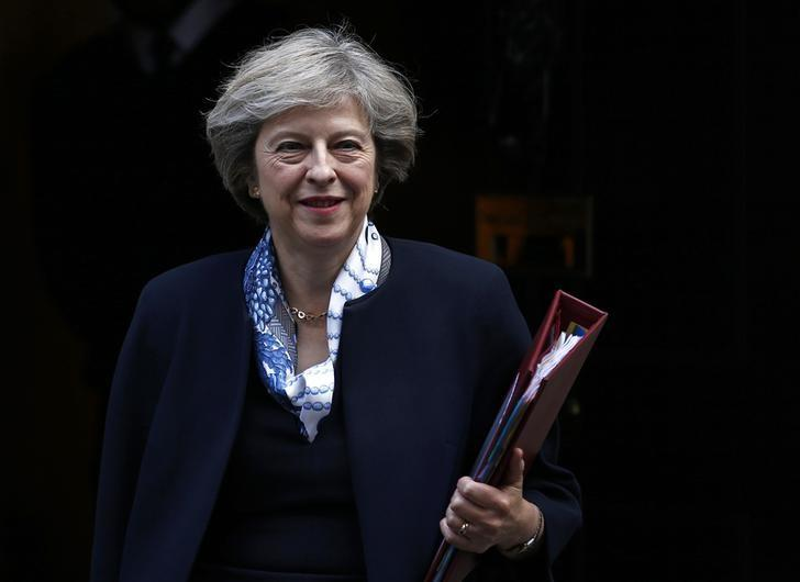 Britain's Prime Minister Theresa May leaves Number 10 Downing Street to attend Prime Minister's Questions at parliament in London, Britain October 12, 2016. REUTERS/Peter Nicholls
