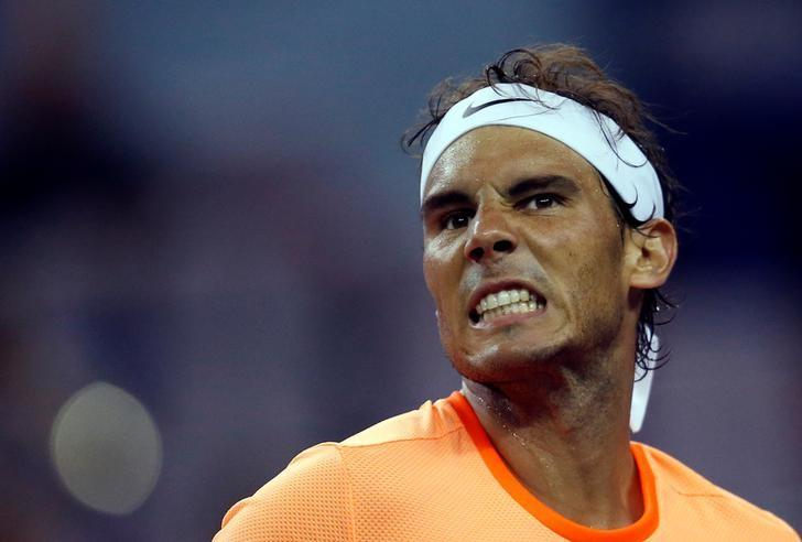 Tennis - Shanghai Masters tennis tournament - Shanghai, China - 12/10/16. Rafael Nadal of Spain reacts during his match against Viktor Troicki of Serbia. REUTERS/Aly Song