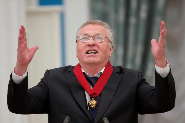 Head of the Liberal Democratic Party of Russia (LDPR) Vladimir Zhirinovsky delivers a speech after receiving an award from Russian President Vladimir Putin (unseen) during a ceremony at the Kremlin in Moscow, Russia, September 22, 2016. REUTERS/Ivan Sekretarev/Pool