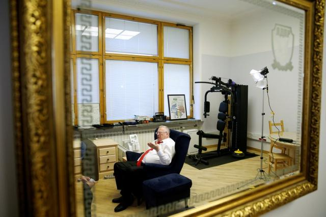 Vladimir Zhirinovsky, leader of the Liberal Democratic Party of Russia, speaks during an interview with Reuters in Moscow, Russia, October 11, 2016. Picture taken October 11, 2016. REUTERS/Maxim Zmeyev