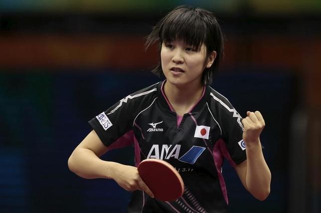 10月12日、卓球の女子W杯で日本勢として初優勝を果たした平野美宇は、中国スーパーリーグへの参戦を控え、卓球界を席巻する中国勢に挑戦するための準備を整える覚悟だという。中国の蘇州で2015年4月撮影(2016年 ロイター/Aly Song)