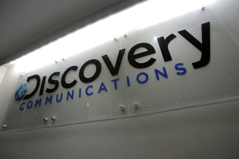 The Discovery Communications logo is seen at their office in Manhattan, New York, U.S., August 1, 2016.  REUTERS/Andrew Kelly