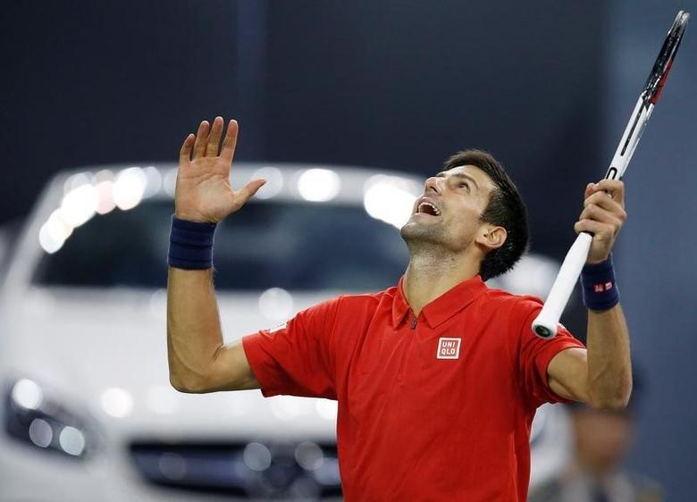 Tennis - Shanghai Masters tennis tournament - Shanghai, China - 14/10/16. Novak Djokovic of Serbia reacts during his match against Mischa Zverev of Germany. REUTERS/Aly Song