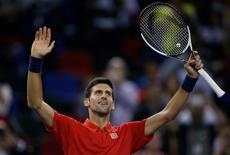 Tennis - Shanghai Masters tennis tournament - Shanghai, China - 14/10/16. Novak Djokovic of Serbia celebrates after defeating Mischa Zverev of Germany. REUTERS/Aly Song