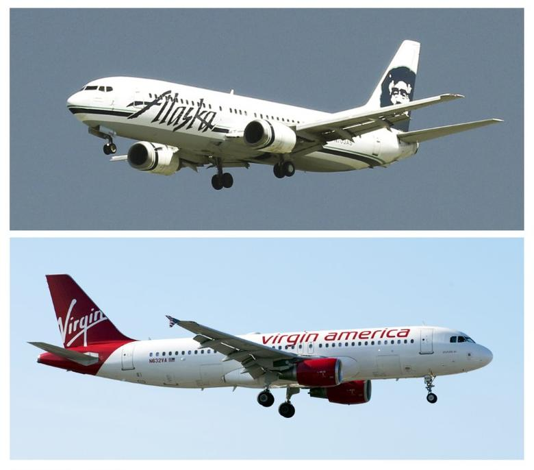 A combination photo shows Virgin America plane (bottom) in San Diego, California on April 4, 2016 and an Alaska Airlines plane (top) at San Francisco, California on April 14, 2015 respectively. REUTERS/Files