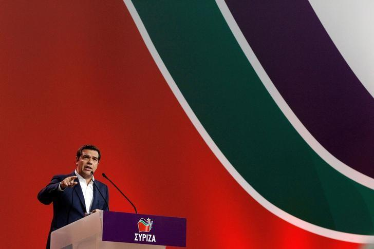 Greek Prime Minister Alexis Tsipras delivers his speech during a congress of leftist Syriza party in Athens, Greece, October 13, 2016. REUTERS/Michalis Karagiannis