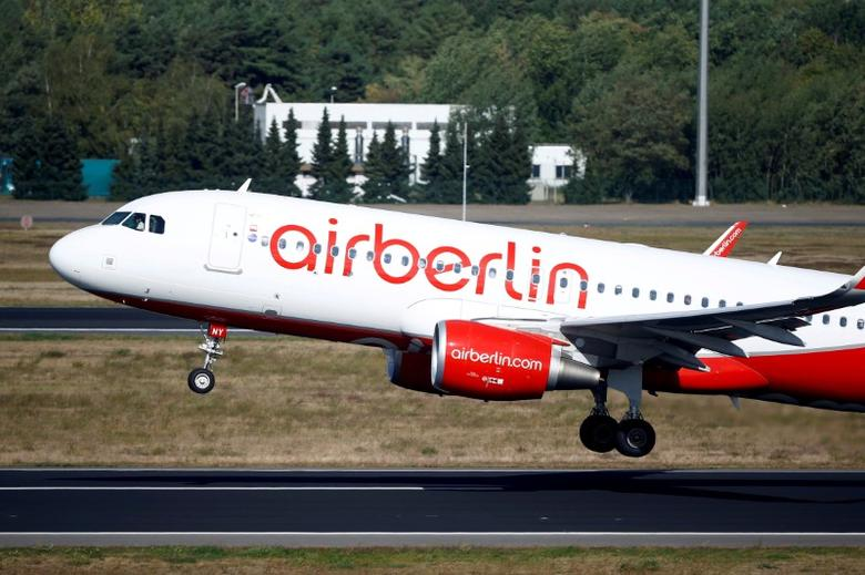 German carrier Air Berlin's aircraft is pictured at Tegel airport in Berlin, Germany, September 29, 2016.    REUTERS/Axel Schmidt/File Photo