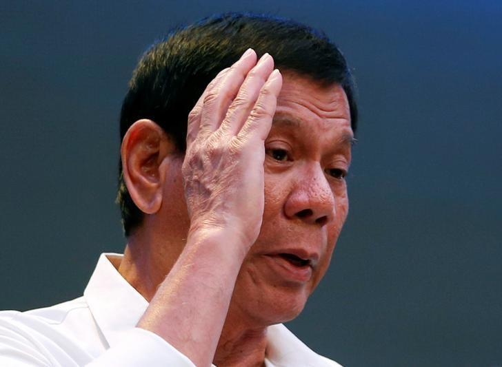 President Rodrigo Duterte speaks during a gathering of businessmen in Pasay city, Metro Manila, Philippines, October 13, 2016.  REUTERS/Erik De Castro