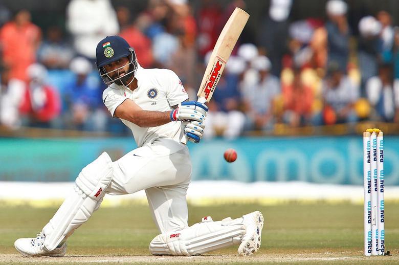 Cricket - India v New Zealand - Third Test cricket match - Holkar Cricket Stadium, Indore, India - 09/10/2016. India's Virat Kohli plays a shot. REUTERS/Danish Siddiqui