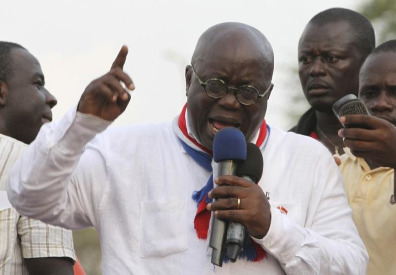 New Patriotic Party (NPP) leader Nana Akufo-Addo speaks during a meeting to contest the presidential election results, at Kwame Nkrumah Circle in Accra December 11, 2012. REUTERS/Luc Gnago