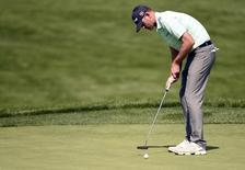 Jun 17, 2016; Oakmont, PA, USA; Brendan Steele putts on the 13th green during the second round of the U.S. Open golf tournament at Oakmont Country Club. Mandatory Credit: John David Mercer-USA TODAY Sports