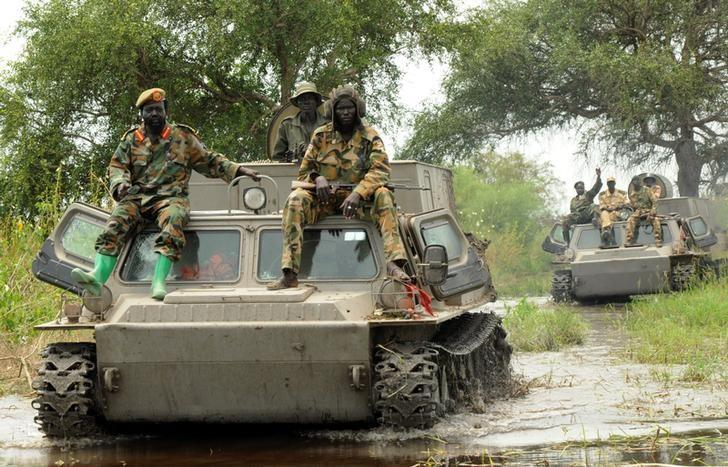 Sudan People's Liberation Army (SPLA) forces patrol in the  camp of Lalo following heavy fighting over the weekend that killed dozens of people, close to Malakal, South Sudan, October 16, 2016. REUTERS/Jok Solomon