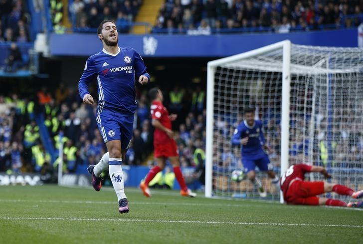 Britain Football Soccer - Chelsea v Leicester City - Premier League - Stamford Bridge - 15/10/16Chelsea's Eden Hazard celebrates scoring their second goal Reuters / Peter Nicholls/ Livepic/Files