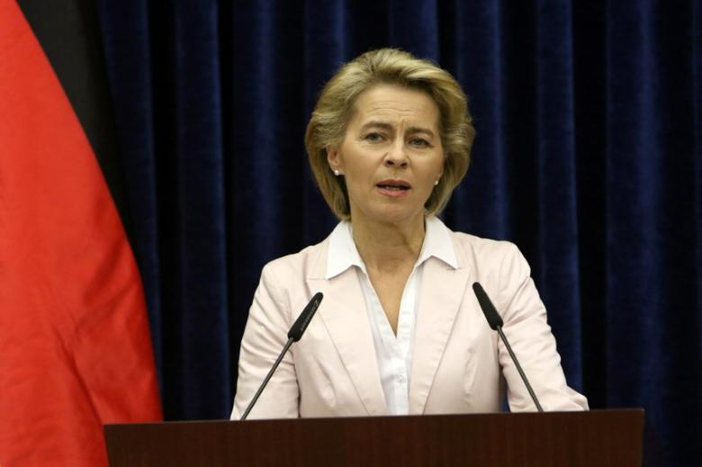 German Defence Minister Ursula von der Leyen speaks during a news conference with Iraq's Kurdistan region's President Massoud Barzani in Erbil, Iraq, September 23, 2016. REUTERS/Azad Lashkari