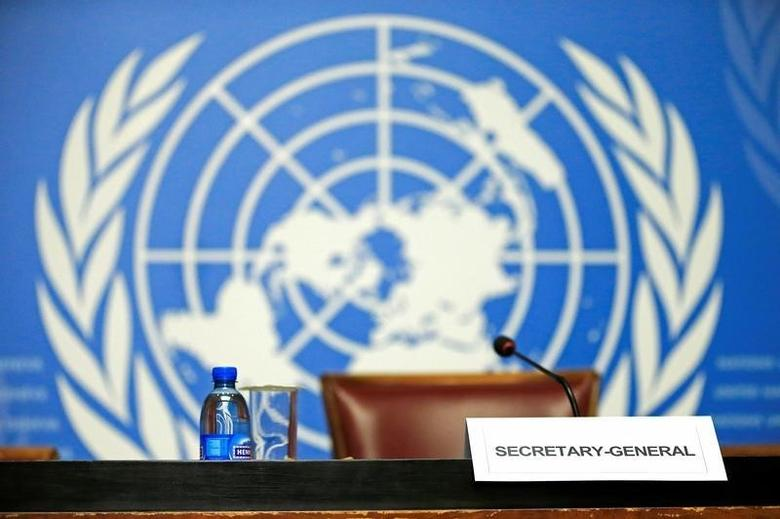 U.N. Secretary-General Ban Ki-moon empty desk is seen before his speech to the press conference at the United Nations European headquarters in Geneva, Switzerland October 3, 2016. REUTERS/Pierre Albouy