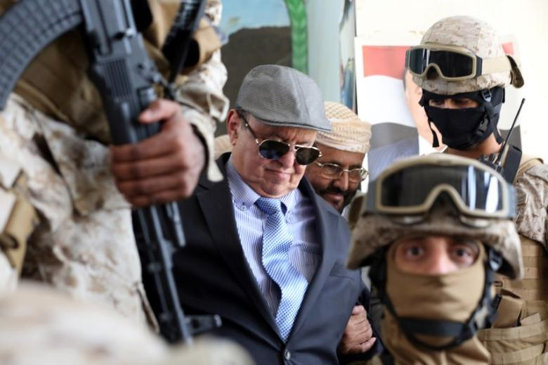 Yemen's President Abd-Rabbu Mansour Hadi is escorted by special forces during a visit to the country's northern province of Marib in this file photo dated July 10, 2016. REUTERS/Ali Owidha