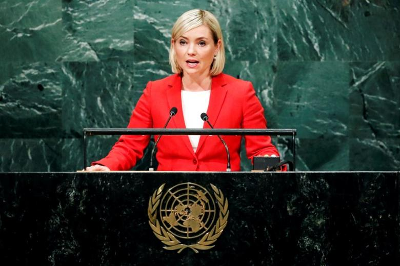 Iceland's Minister of Foreign Affairs Lilja Alfredsdottir addresses the United Nations General Assembly in the Manhattan borough of New York, U.S., September 24, 2016.  REUTERS/Eduardo Munoz/File Photo
