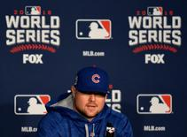 Oct 24, 2016; Cleveland , OH, USA; Chicago Cubs starting pitcher Jon Lester (34) talks to the media during work out day prior to the start of the 2016 World Series at Progressive Field. Mandatory Credit: Ken Blaze-USA TODAY Sports