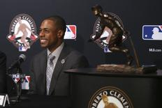 Oct 28, 2016; Chicago, IL, USA; New York Mets player Curtis Granderson smiles during a press conference being awarded the Roberto Clemente Award before game three of the 2016 World Series at Wrigley Field. Mandatory Credit: Jerry Lai-USA TODAY Sports