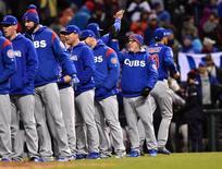 Oct 26, 2016; Cleveland, OH, USA; Chicago Cubs manager Joe Maddon celebrates with his team after defeating the Cleveland Indians in game two of the 2016 World Series at Progressive Field. Mandatory Credit: Ken Blaze-USA TODAY Sports